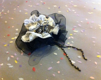 Black and White Lace Crystal Chain Brooch