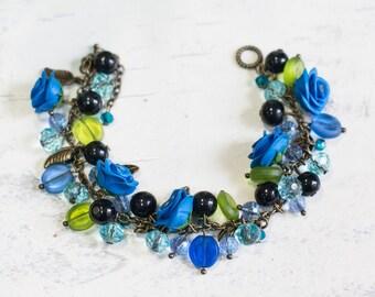 """Vintage bracelet """"Blue rose"""""""