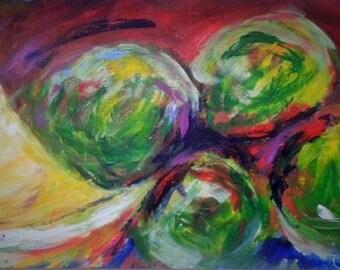 Olives and Lemon, original acrylic painting, 21x29.7cm