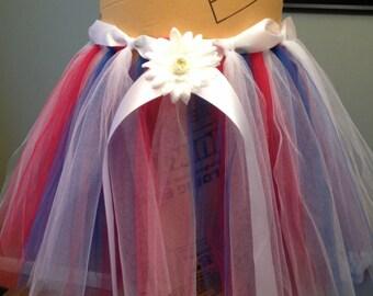 Red White & Blue Tulle Skirt Memorial Day Fourth 4th of July Tulle Skirt Parade Birthday Military Tulle Skirt Girl 2T-6X