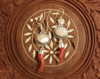 Silver, Pearl, and Coral Earrings