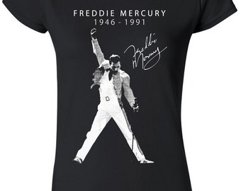 Ladies Freddie Mercury Pose Queen Rock Music Tee T-Shirt Top Womens Girls