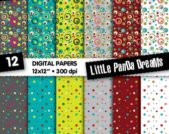 "Dots and circles Digital Paper | Digital Scrapbook Paper Pack | Digital pattern| 12x12"" | 300 dpi | Instant Download | 12 Digital papers"