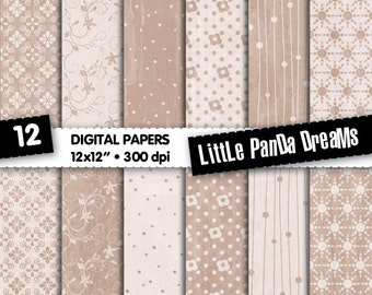 "Beige Digital Paper | Dark beige | Digital Scrapbook Paper Pack | Digital pattern | 12x12"" | 300 dpi | Instant Download | 12 Digital papers"