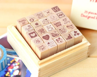 Cartoon Rubber Stamps - Diary Stamp Set - with Vintage Wooden Box - 25pcs