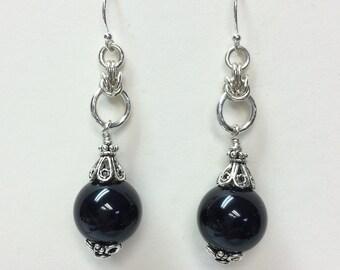 Black Onyx Sterling Silver Earrings