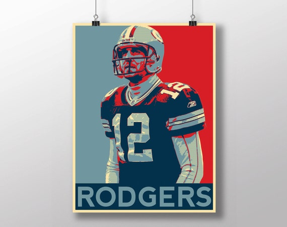 Aaron Rodgers Poster Green Bay Packers By Handsomeprintables