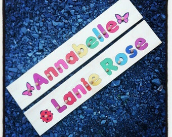 Name Puzzle 10 Letters  | add personalized engraved message on back for a keepsake gift. Shapes available in other listings