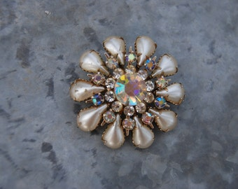 Vintage Faux Pearl and AB Flower Rhinestone Brooch