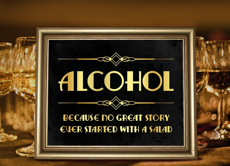 Bar decor printable alcohol sign party like gatsby roaring for Art deco party decoration ideas