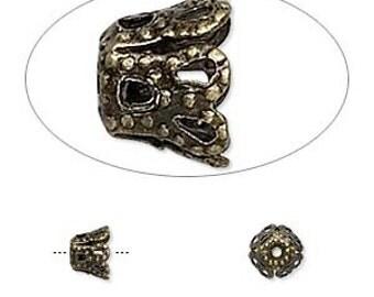 Filigree Bead cap, antiqued brass bead caps, flexable, 6x5mm, 6 each, D315