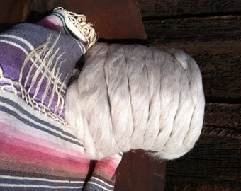 Navajo Churro Sheep Wool - Beige - Pin Draft Roving - ready for spinning