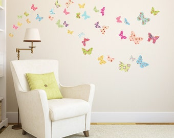 Decowall, DW-1408, The Colorful Butterflies Wall Stickers