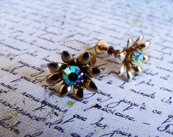 AB Rhinestone Gold Vintage Estate Flower Earrings