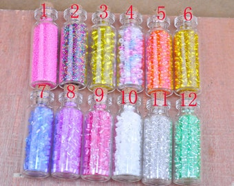 Glass Bottle,drift bottle,10 pieces Glass Bottles with Mini glass beads in different colors.you choose the color--16mm X 45mm.