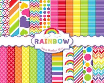 Rainbow Digital Paper Pack, Scrapbook Papers, 24 JPG Files 12 x 12 - Instant Download