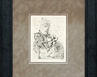 Salvador Dali Etching - El Cid (Etching of a Knight) Signed in plate