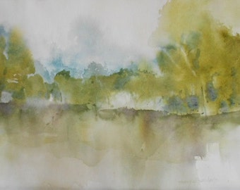 Large original watercolor painting abstract landscape trees wet morning 16 x 20 matted ooak Virginia landscape