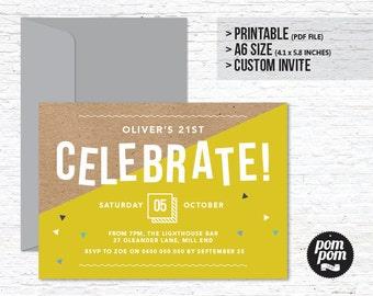 Celebrate! Invitation - PRINTABLE DIGITAL FILE