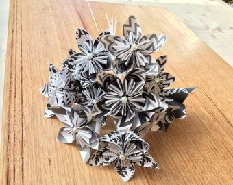 Origami flowers, single stem, handcrafted paper alternative for bouquet or decoration.