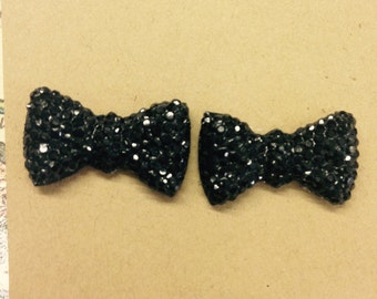 Black Bow Post Earrings