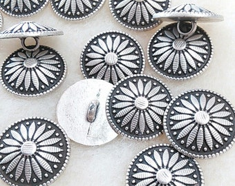BM08, Buttons, (6) 21mm, metal, rod, Flower, vintage, FREE shipping with another purchase