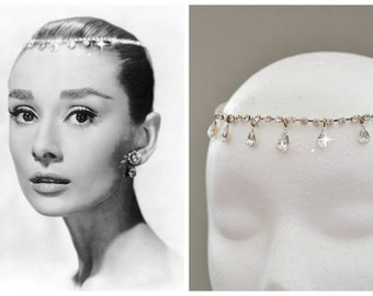 Audrey Hepburn Teardrop Tiara Inspired BRIDAL HEADBAND,Wedding Bridal Hair Jewelry Bridal Rhinestone Tiara bridal Hair Wreath Bridal Halo