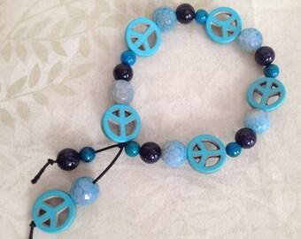 Peace and Light Blue Dragon Vein Agate Beaded Stretch Bracelet