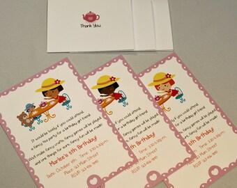 Custom Tea Birthday Party Invitations and Thank You Notes
