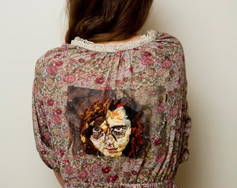 Vintage Dress with Hand Embroidered Portrait