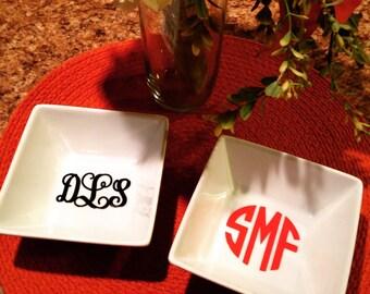 Monogrammed Square Jewelry Dish