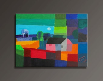 Abstract House Canvas Painting (40x30cm)