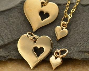 Hearts- Mother Daughter Charm Set - Bronze