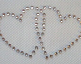 HEARTS X 2 Iron On / Hot Fix Rhinestone, Diamante, Transfer, Motif, Bling
