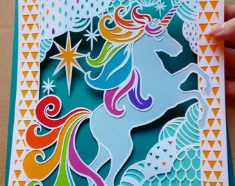 Simon The Unicorn Papercut Design Personal & Commercial Use Template - DIY