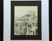 Charleston rooftops pen and ink original drawing framed with free shipping