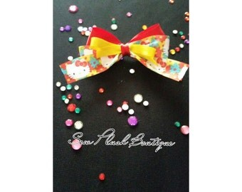 Hello Kitty Hair Bow, Girls Hair Bow, Hair Clip, Hello Kitty Bow
