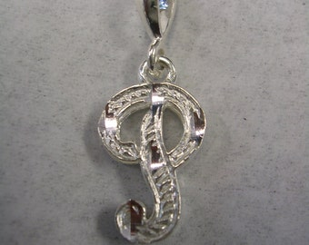Letter P initial pendant charm in sterling silver