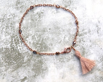 Delicate Rose Gold Chain Bracelet with Hand Crafted Cotton Tassel