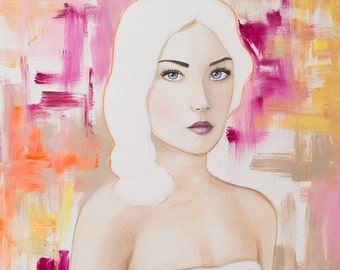 "Table woman portrait ""The girl with white hair"" - gift idea - fine art - print - wall painting - original - acrylic paint"
