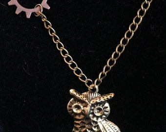 Owl and Gear Necklace