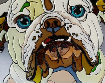 Hand Painted Bull Dog Pet Portrait- glossy paint metal canvas
