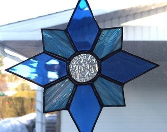 Blue Stained Star Stained Glass Suncatcher