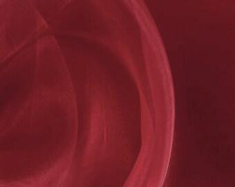 """Silk Organza Fabric, 8mm, 45"""", 100% silk organza red burgundy color by the yard"""