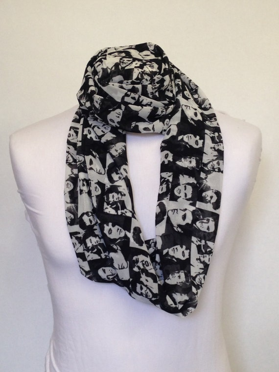 elvis black white infinity scarf jersey or chiffon
