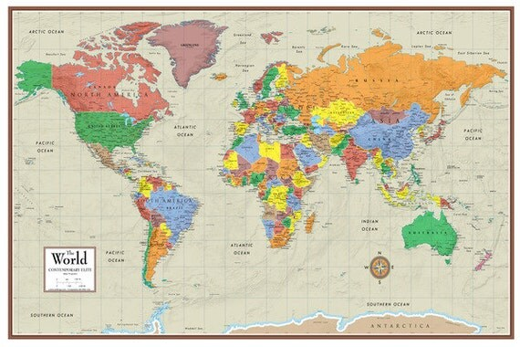 Swiftmaps world contemporary elite wall map mural wall art for Amazon world map mural