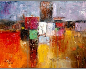 Urban Landscape , Abstract Painting on canvas, Original & Hand Made Oil painting , Modern Art , Express Shipping, q By ChrisArt