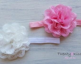 Big Flower Headband,baby hair bows,baby flower headband,photo prop,toddler headband,pink,white flower headband,toddler,baby hair accessory