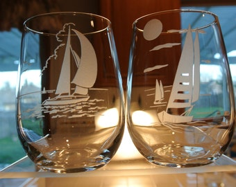 sandblasted sail boats on stemless