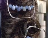 Blue tear drop beaded hoops